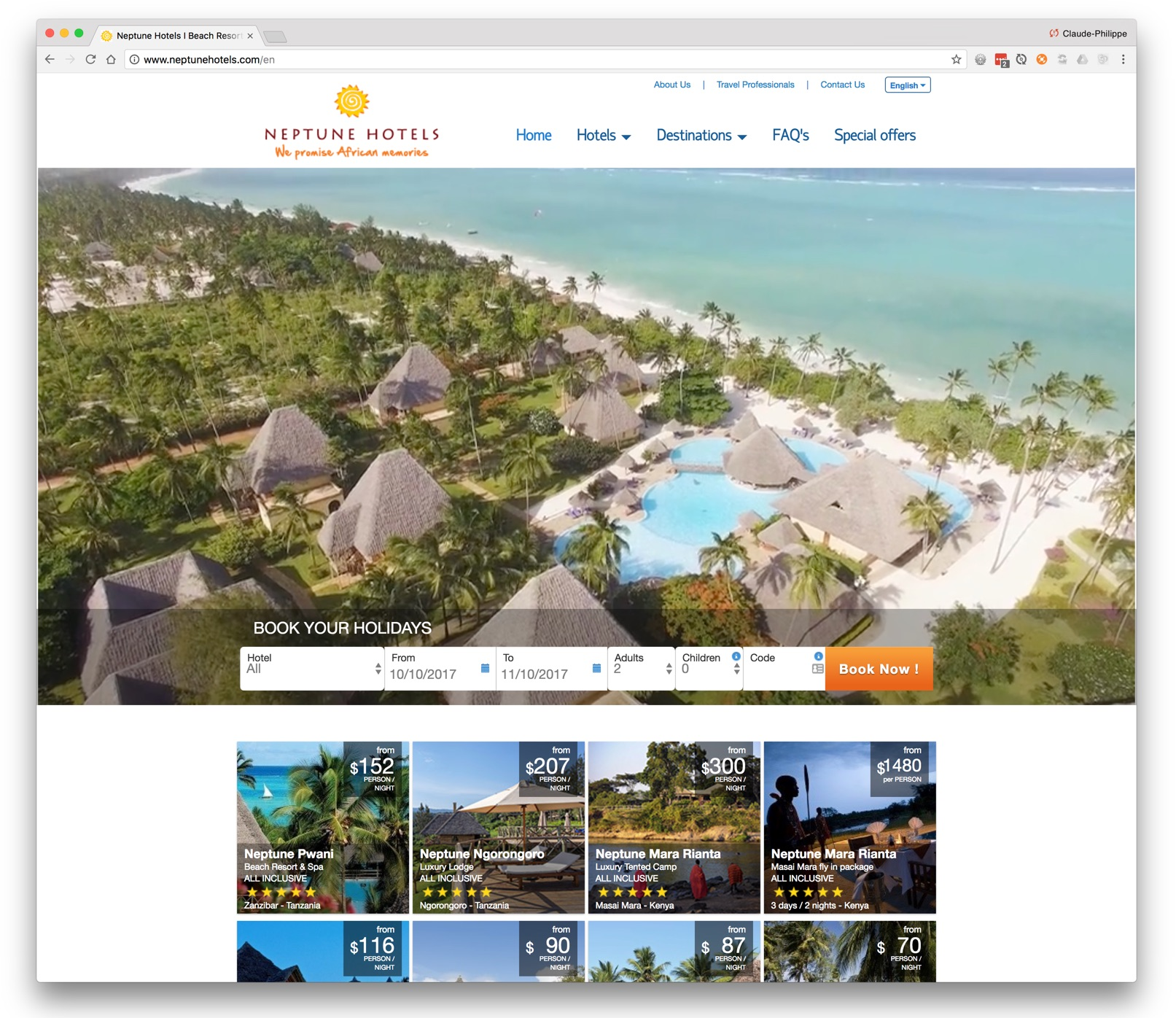 Neptune Hotels website